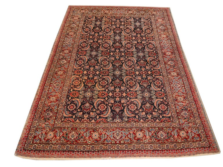 Antique Rug Mahi Design Haji Style Blue and Red Allover For Sale 1