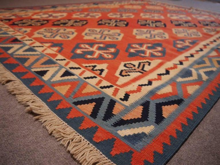 Hand-Woven Persian Qashgai Vintage Hand Woven Kilim Rug For Sale