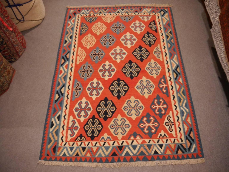 Late 20th Century Persian Qashgai Vintage Hand Woven Kilim Rug For Sale