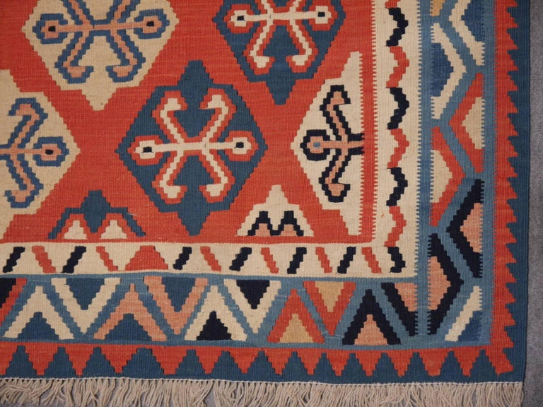 Persian Qashgai Vintage Hand Woven Kilim Rug For Sale 1