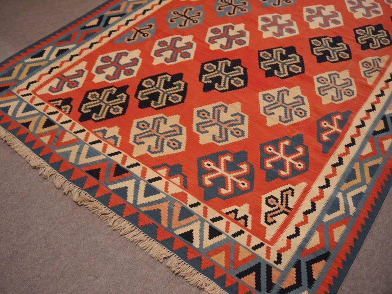 Persian Qashgai Vintage Hand Woven Kilim Rug For Sale 2