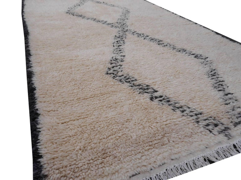 Scandinavian Modern North African Beni Ourain Tribal Rug Wool White and Black Two Diamond Design For Sale