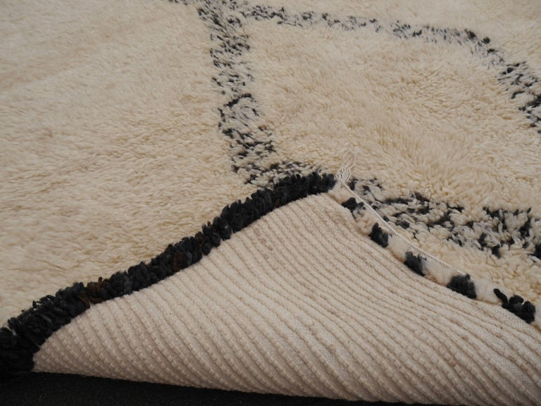 Contemporary North African Beni Ourain Tribal Rug Wool White and Black Two Diamond Design For Sale