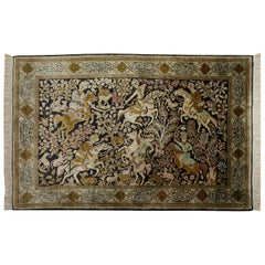 Silk Hunting Rug Hand-Knotted in dark Blue, Brass and Greens