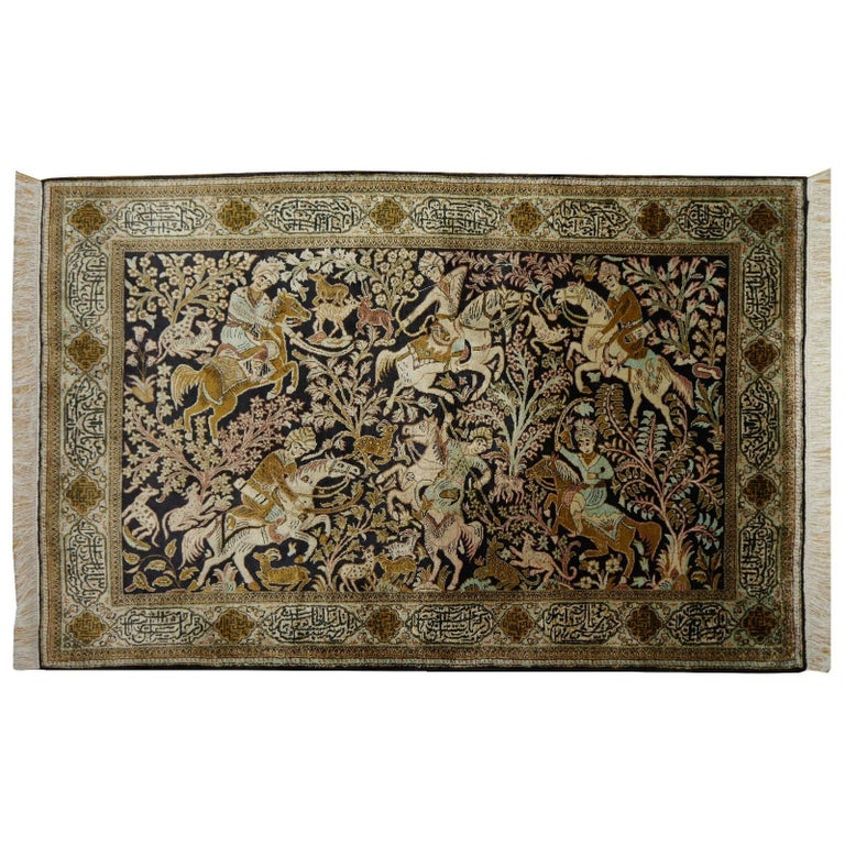 Silk Hunting Rug Hand-Knotted in dark Blue, Brass and Greens For Sale