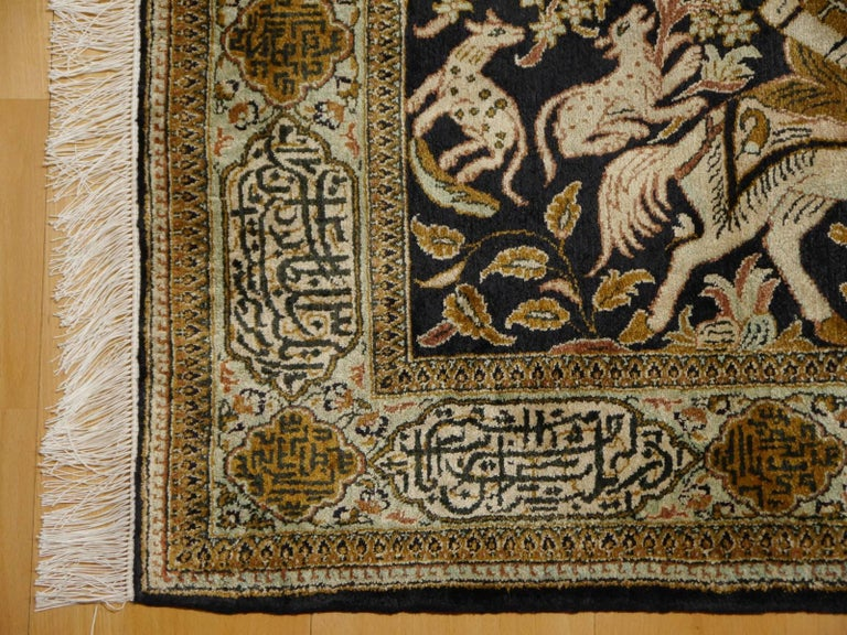 This small sized pure natural silk Qum hunting rug was made in Persia. Masters of rug making produce such decorative treasures in about 15-18 month in this size. Due to the very Fine knots it is a difficult art to create the design knot by knot.