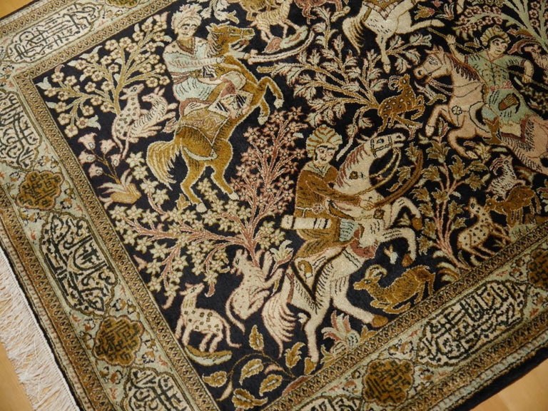 Persian Silk Hunting Rug Hand-Knotted in dark Blue, Brass and Greens For Sale