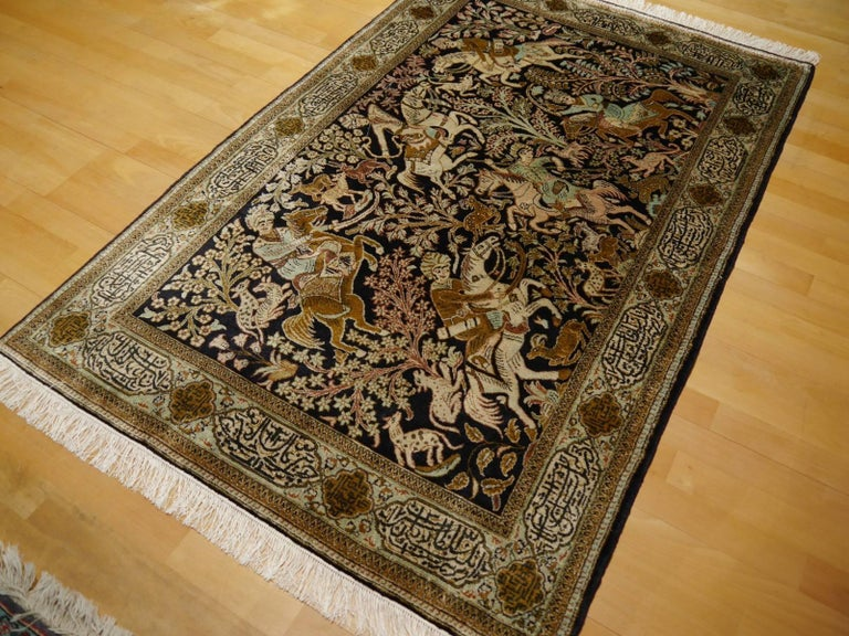 Silk Hunting Rug Hand-Knotted in dark Blue, Brass and Greens For Sale 5