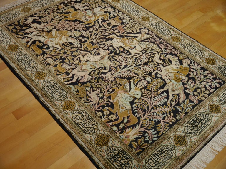 Silk Hunting Rug Hand-Knotted in dark Blue, Brass and Greens For Sale 3