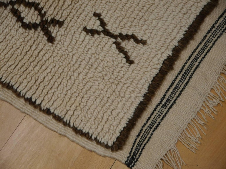 Vintage Moroccan Berber Rug Beige Brown North African Tribal Carpet In Excellent Condition For Sale In Lohr, Bavaria, DE