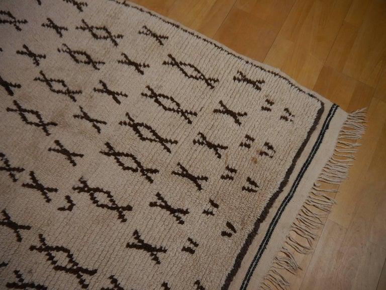 Vintage Moroccan Berber Rug Beige Brown North African Tribal Carpet For Sale 1