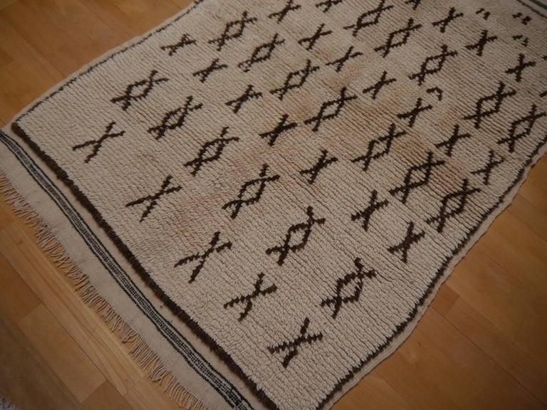 Wool Vintage Moroccan Berber Rug Beige Brown North African Tribal Carpet For Sale
