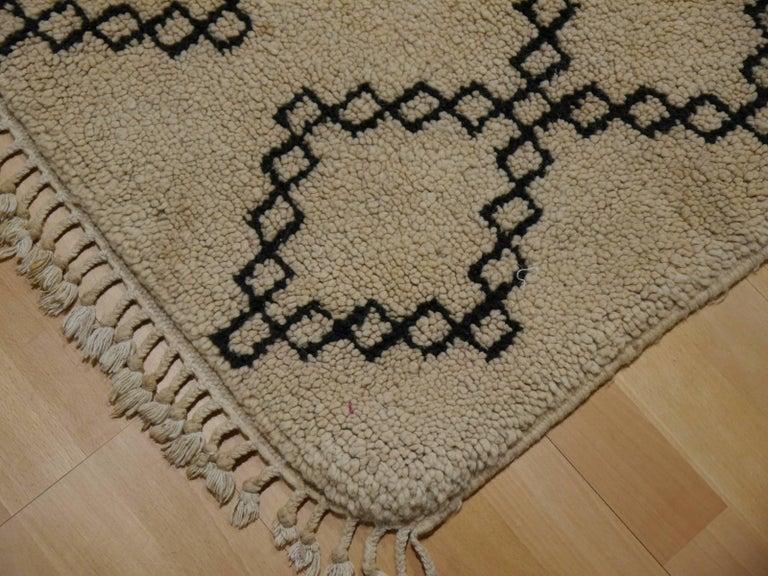 Mid-Century Modern Vintage Moroccan Berber Rug Beige Brown North African Tribal Carpet For Sale