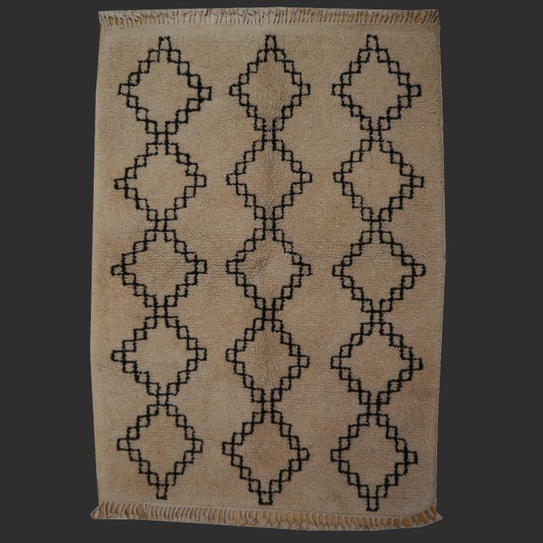 Late 20th Century Vintage Moroccan Berber Rug Beige Brown North African Tribal Carpet For Sale