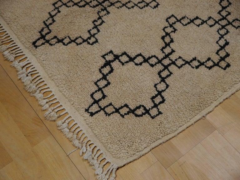 Vintage Moroccan Berber Rug Beige Brown North African Tribal Carpet For Sale 2