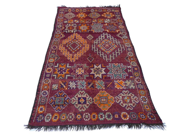 Hand-Knotted Moroccan / North African Vintage Berber Rug For Sale
