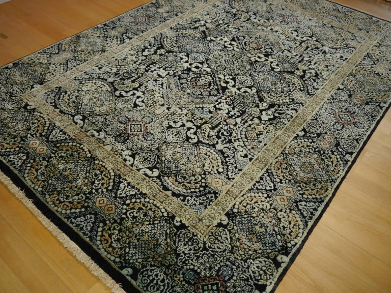 Kohinoor Hand-Knotted Wool and Silk Rug from India 4