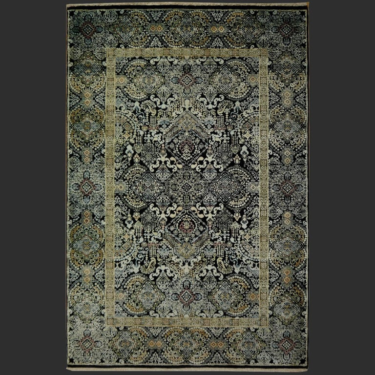 Kohinoor Hand-Knotted Wool and Silk Rug from India 8