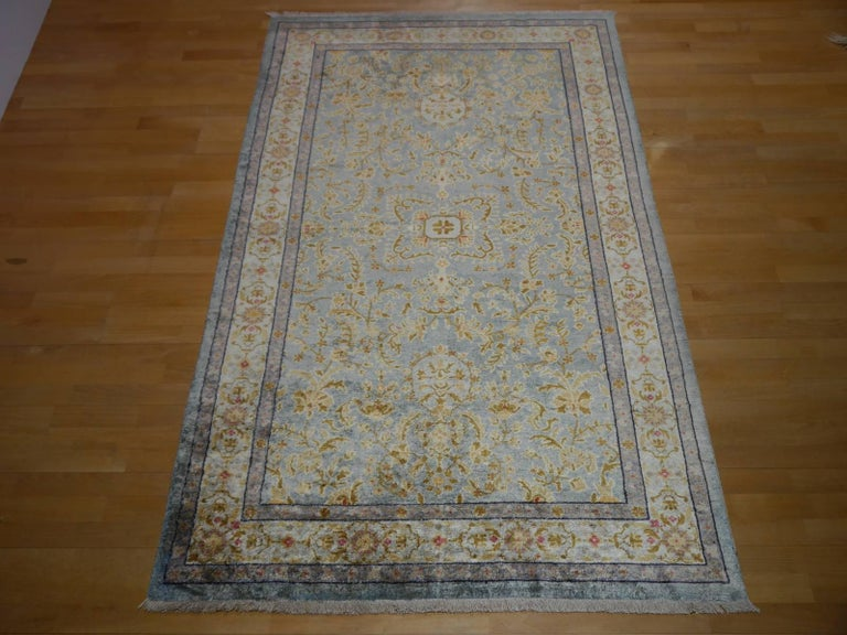 Central Asian Samarkand Khotan Silk Rug Semi Antique Chinese Carpet Light Blue East Turkestan For Sale
