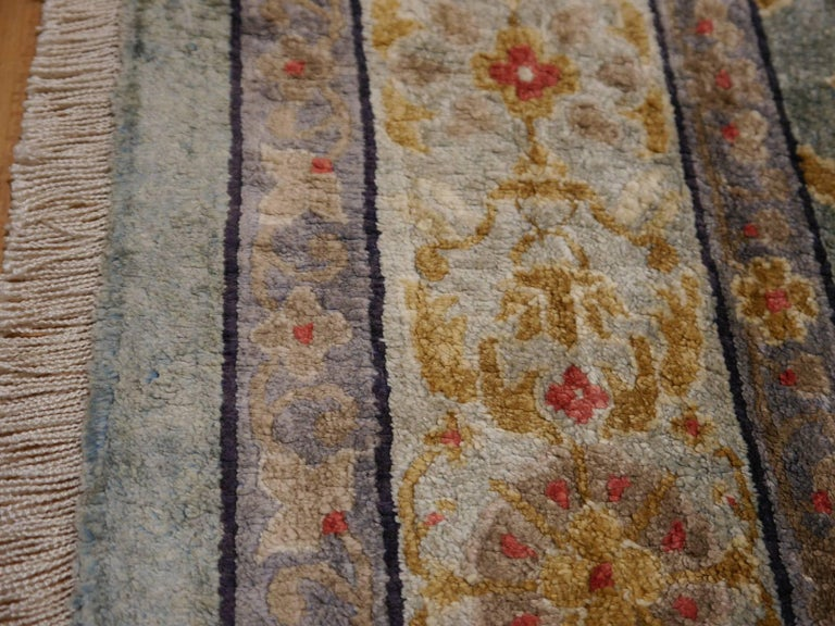 Samarkand Khotan Silk Rug Semi Antique Chinese Carpet Light Blue East Turkestan For Sale 3