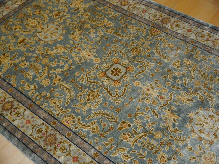 Samarkand Khotan Silk Rug Semi Antique Chinese Carpet Light Blue East Turkestan For Sale 4