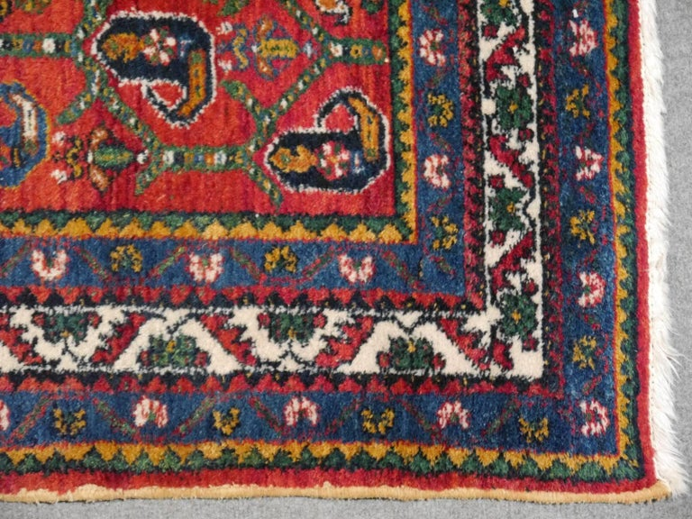 Hand-Knotted Persian Rug Afshari Vintage Tribal Carpet Red and Blue, Mid-20th Century For Sale