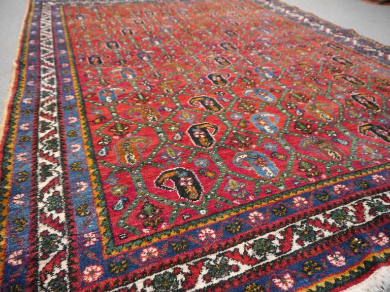 Wool Persian Rug Afshari Vintage Tribal Carpet Red and Blue, Mid-20th Century For Sale