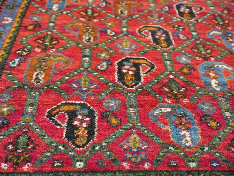 Persian Rug Afshari Vintage Tribal Carpet Red and Blue, Mid-20th Century For Sale 1