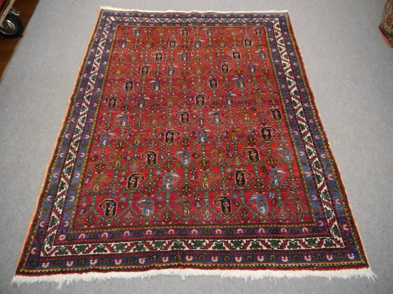 Persian Rug Afshari Vintage Tribal Carpet Red and Blue, Mid-20th Century For Sale 2
