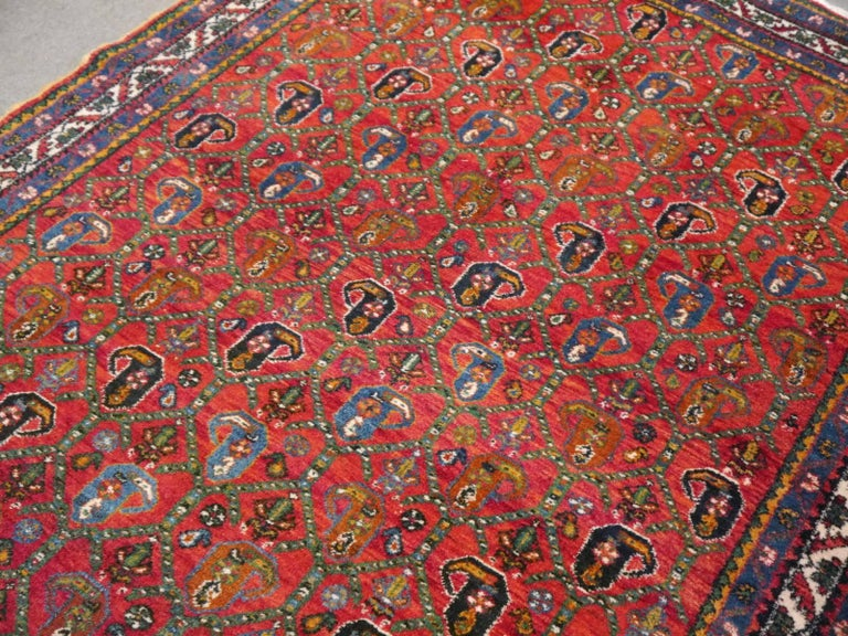Persian Rug Afshari Vintage Tribal Carpet Red and Blue, Mid-20th Century For Sale 4