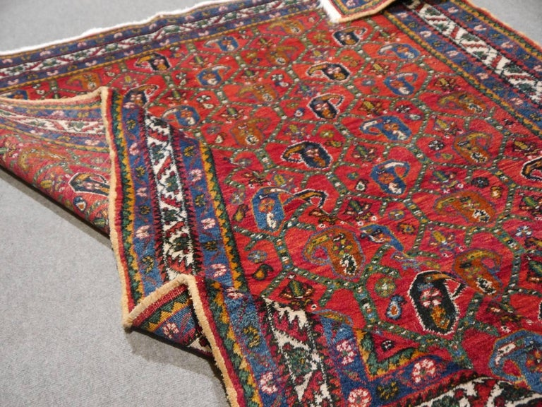 Persian Rug Afshari Vintage Tribal Carpet Red and Blue, Mid-20th Century For Sale 5