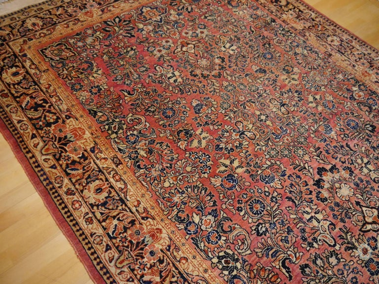 A fine and hand knotted Sarouk rug in very good condition. It has very good pile condition, is soft and has a beautiful luster - a perfect interior design rug.   Sarouk (also Saruk, Sarough or Sarogh) is one of the most famous  rug and carpet