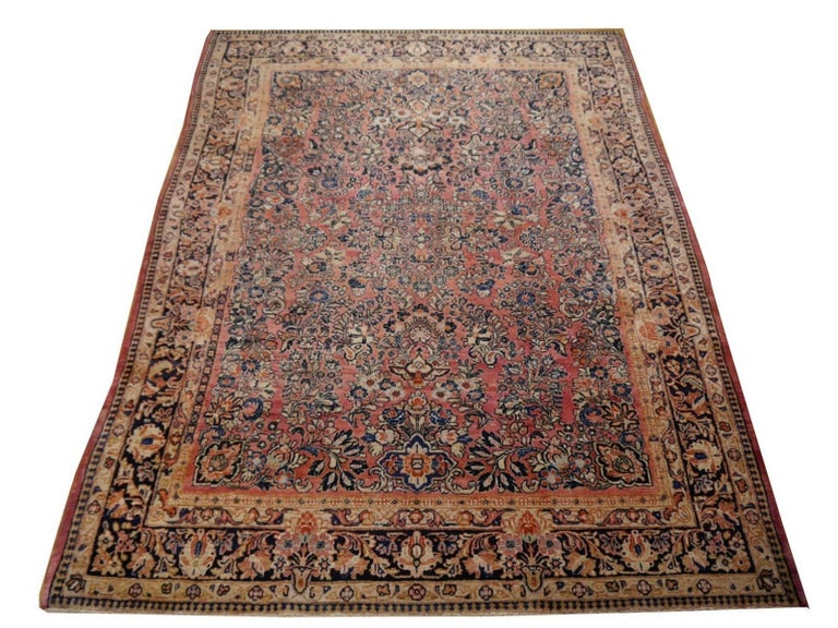 Persian Antique Rug Early 20th Century Classic  Carpet For Sale