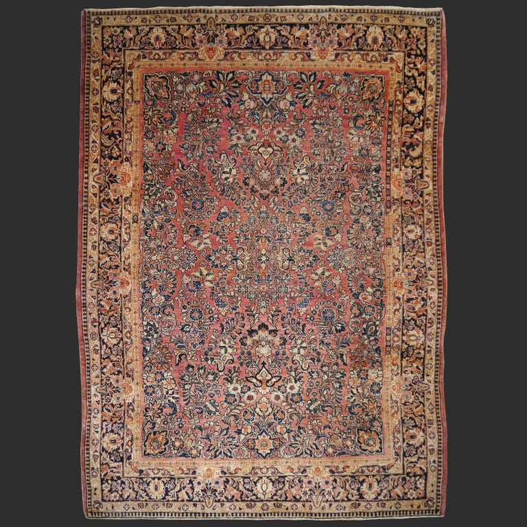Antique Rug Early 20th Century Classic  Carpet For Sale 4