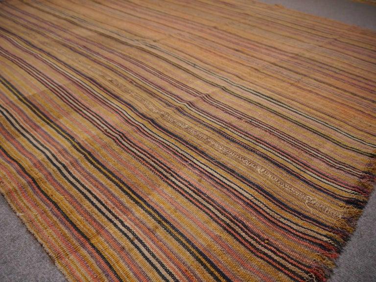 Hand-Woven Antique Persian Jajim Striped Banded Kilim Rug Blanket For Sale