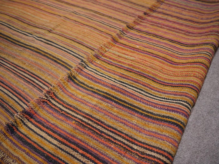 A beautiful antique Jajim Kilim. Handwoven by women of the Shahsavan tribe. Very good condition. Jajim are very thin - more like a blanket than a rug. They are woven in narrow bands and sewn together.