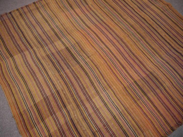 Hand-Woven Antique Jajim Striped Banded Kilim Rug Blanket For Sale