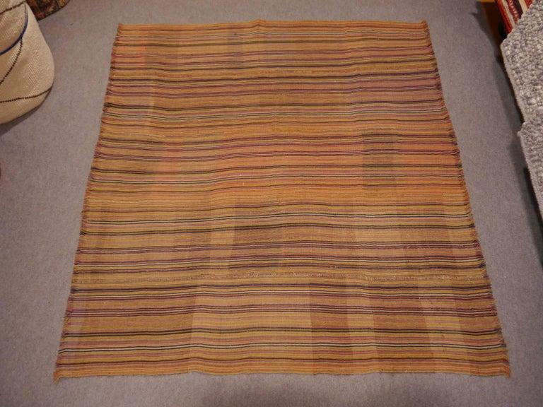Wool Antique Persian Jajim Striped Banded Kilim Rug Blanket For Sale