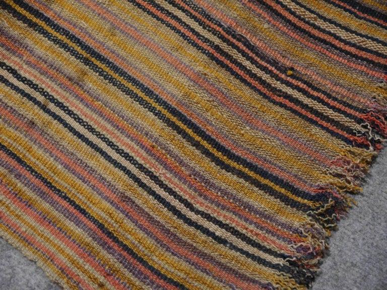 Mid-20th Century Antique Persian Jajim Striped Banded Kilim Rug Blanket For Sale