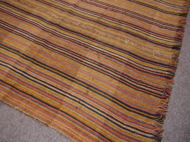 Wool Antique Jajim Striped Banded Kilim Rug Blanket For Sale