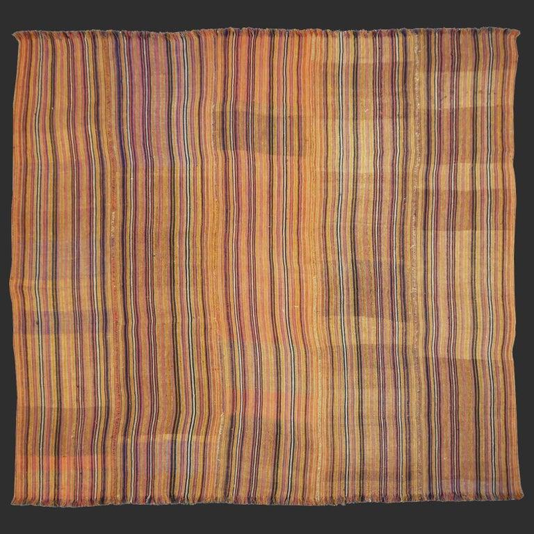 Antique Jajim Striped Banded Kilim Rug Blanket For Sale 1