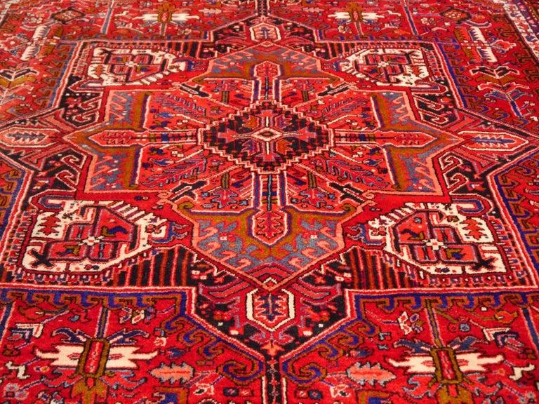 20th Century Heriz Persian Rug Semi Antique Midcentury Carpet For Sale