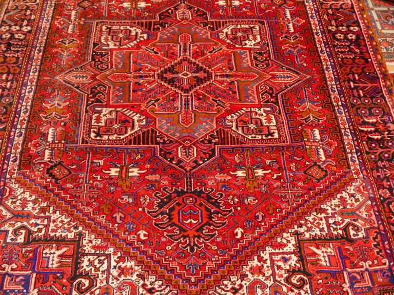 Wool Heriz Persian Rug Semi Antique Midcentury Carpet For Sale