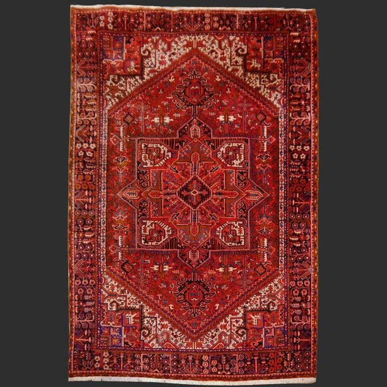 Heriz Persian Rug Semi Antique Midcentury Carpet For Sale 1