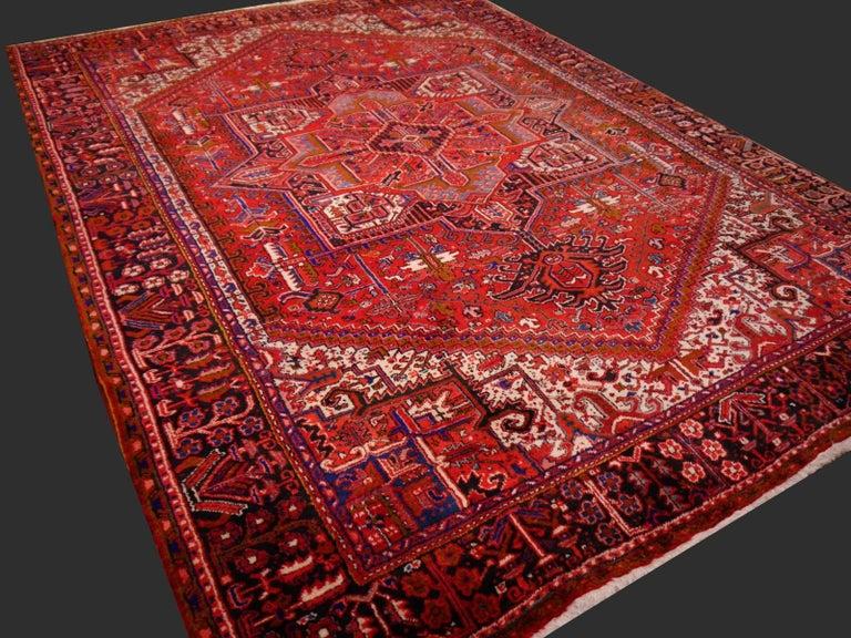 Heriz Persian Rug Semi Antique Midcentury Carpet For Sale 2