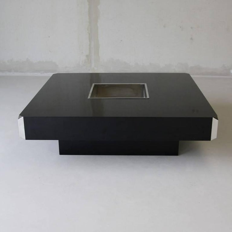European Large Square Willy Rizzo Coffee Table by Sabot For Sale