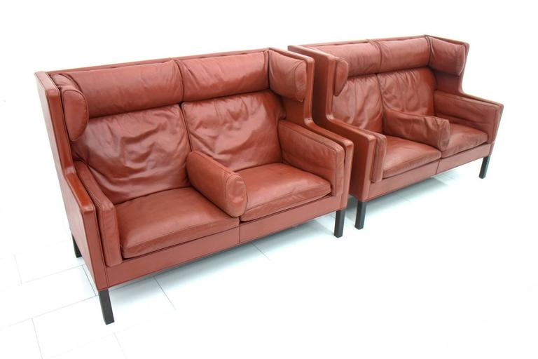 Danish One of Two Børge Mogensen Coupe Leather Sofa, 2192, Frederica, Denmark 1971