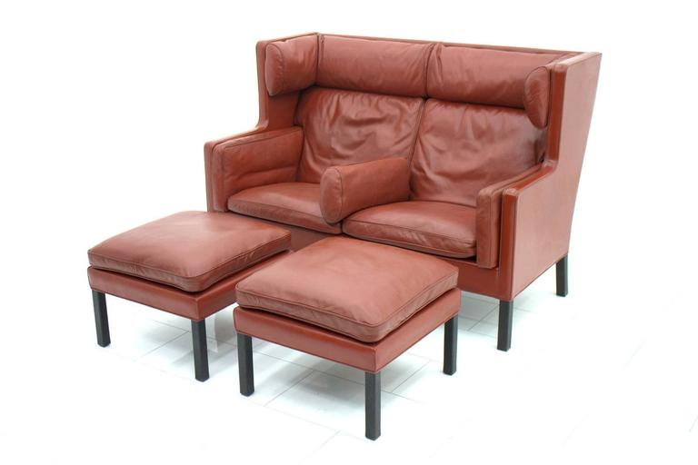 One of Two Børge Mogensen Coupe Leather Sofa, 2192, Frederica, Denmark 1971 In Good Condition In Frankfurt / Dreieich, DE