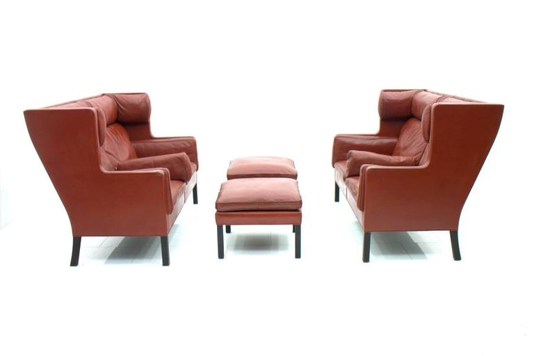 One of Two Børge Mogensen Coupe Leather Sofa, 2192, Frederica, Denmark 1971 2