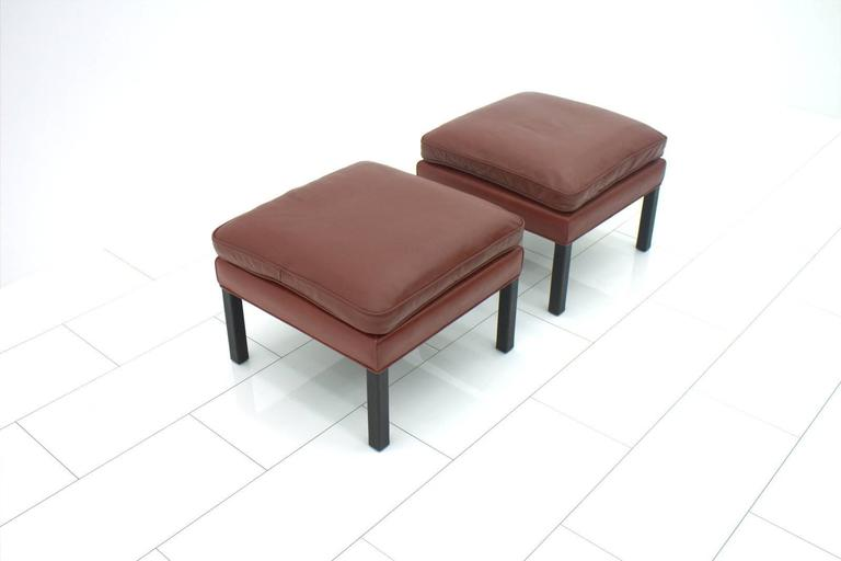 Pair of leather stools by Børge Mogensen, Denmark.